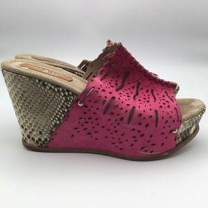 NAPOLEONI Italy pink Snakeskin wedge sandal 38 8 M